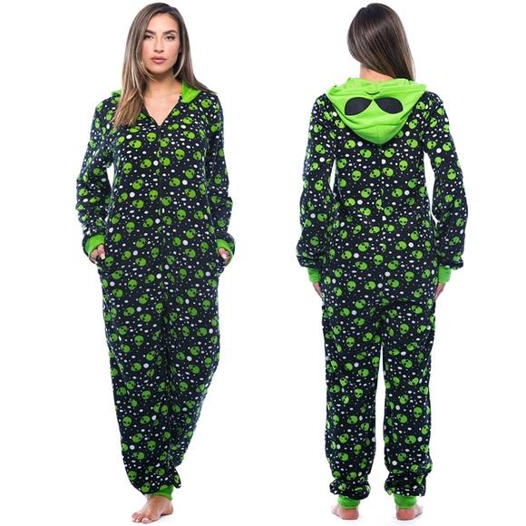 579086e1aad8 Unisex Fuzzy Alien Adult Hooded Onesie Pajamas 